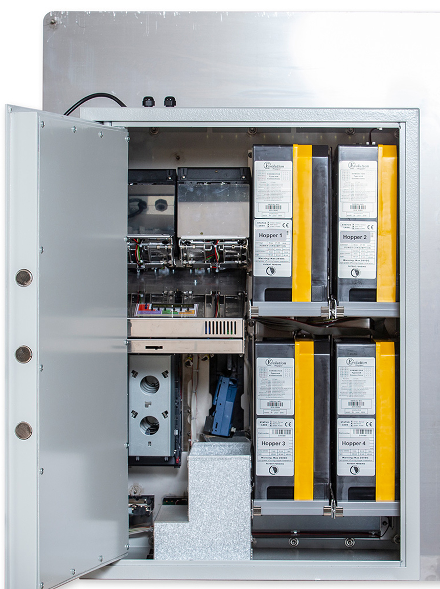 Wechsel Automat SBA 4D-Basis-Gerät von vorn für Münzen innen